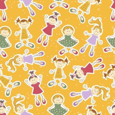 Fototapeta radosna żółta fototapeta z uśmiechniętymi dziećmi bawiącymi się w świetlicy