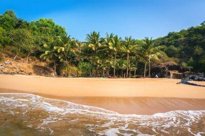 Fototapeta Rajska plaża w Gokarnie. Piękny krajobraz pustynny z czystym piaskiem i falą. Widok z boku na morze.