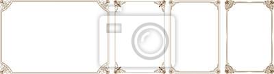 Fototapeta Ramka złota, złota Wektor zestaw elementów dekoracyjnych poziome kwiatu, narożniki, obramowania, ramki