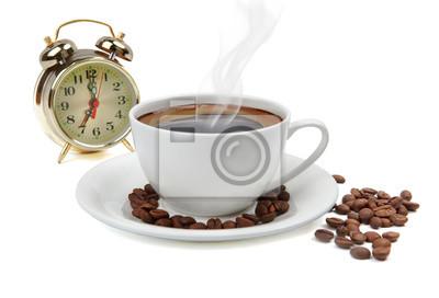 rano z kubkiem kawy
