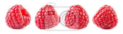 Fototapeta Raspberries isolate set. Raspberry isolated on white background. Red berry closeup.