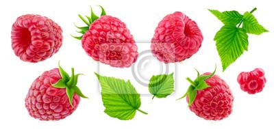 Fototapeta Raspberry collection isolated on white background