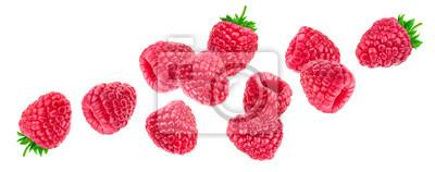 Fototapeta Raspberry isolated on white background, falling raspberries, collection