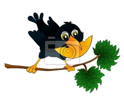 Raven na oddział z serem w dziobie