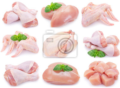 Fototapeta Raw chicken on white background
