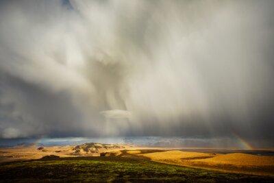 Raynbow, chmury, Islandia