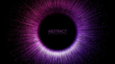 Fototapeta Rays or lines with glowing particles fly out of black hole. Abstract vector background with place for your content. Easy to change colors