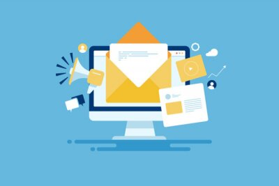 Fototapeta Reaching online audience with email marketing campaign, newsletter subscription, sending marketing message via email. Digital email marketing strategy.