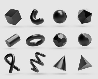 Fototapeta Realistic 3D black metal Geometric Shapes Objects. Realistic geometry elements isolated on white background with metallic color gradient.