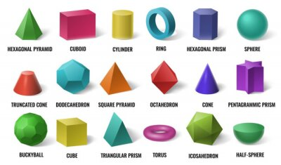 Fototapeta Realistic 3D color basic shapes. Solid colored geometric forms, cylinder and colorful cube shape. Maths geometrical figure form, realistic shapes model. Isolated vector illustration icons set