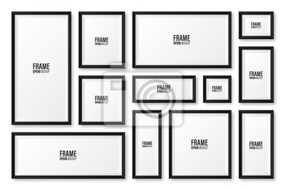 Fototapeta Realistic blank black picture frame with shadow collection isolated on white background. Modern poster mockup. Empty photo frame for art gallery or interior. Vector illustration.