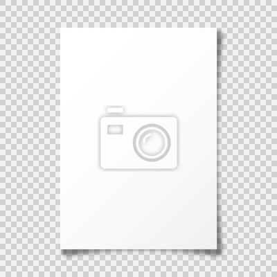 Fototapeta Realistic blank paper sheet with shadow in A4 format on transparent background. Notebook or book page with curled corner. Vector illustration.