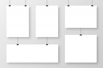 Fototapeta Realistic blank paper sheets hanging on binder clip. White poster with shadow in A4 format. Design template, mockup. Vector illustration.