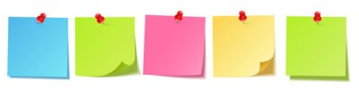 Fototapeta Realistic blank sticky notes isolated on white background. Colorful sheets of note papers with push pin. Paper reminder. Vector illustration.