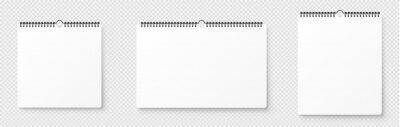 Fototapeta Realistic blank wall calendar. Spiral blank wall calendar mockup. Mock up with shadow on transparent backgroung - stock vector.