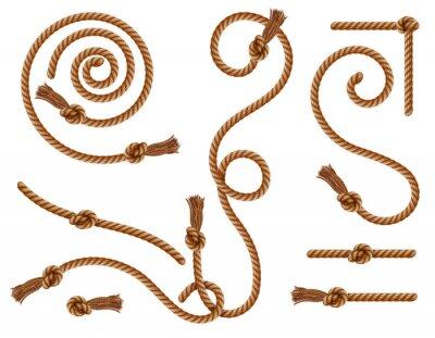 Fototapeta Realistic braided ropes and curtain tassels knots