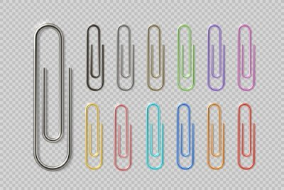 Fototapeta Realistic colorful paper clip set. Metal fasteners notebook holders. Vector illustrations colors steel paperclip for organizing work process