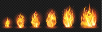 Fototapeta Realistic flame concept. Flaring fire blaze, various size burning spurts of flame, growing wildfire flames isolated vector illustration set. Blaze burn, hot flaming, bonfire ignite transparent