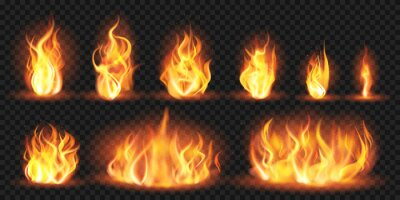 Fototapeta Realistic flames. Burning red wildfire flames, blazing fiery spurts of flame, burn bonfire silhouette isolated vector illustration set. Fiery red, wildfire blaze, burn flame