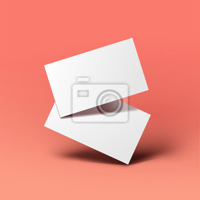 Fototapeta Realistic floating business branding cards template mockup with shadows. Vector illustration