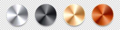 Fototapeta Realistic metal chrome button. Silver steel volume control knob. Application interface design element. App icon. Vector illustration.