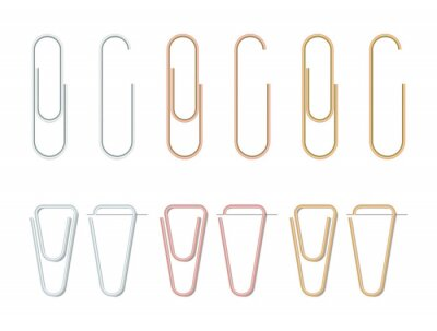 Fototapeta Realistic paper clips set. Silver,bronze and gold color. Paperclip icon. Steel stationery. Paper clips attached to a sheet of paper. Vector illustration on white background.