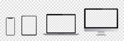 Fototapeta Realistic set of Monitor, laptop, tablet, smartphone. Vector illustration