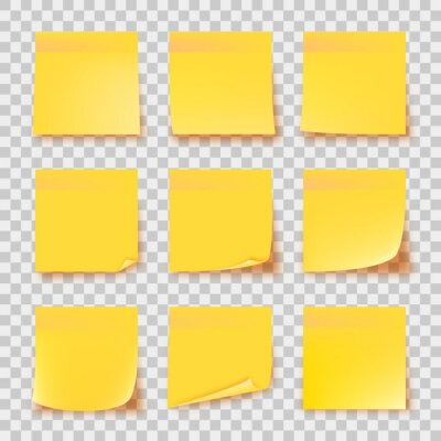 Fototapeta Realistic set yellow stick note isolated on transparent background. Post it notes collection with shadow. Yellow color. Post it notes collection with shadow