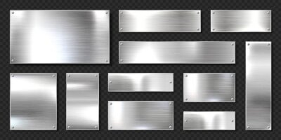 Fototapeta Realistic shiny metal banners set. Brushed steel plate with screws. Polished silver metal surface. Vector illustration.