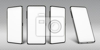 Fototapeta Realistic smartphone mockup. Cellphone frame with blank display isolated templates, phone different angles views. Vector mobile device concept