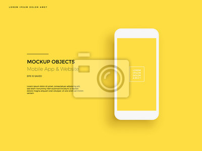 Fototapeta Realistic smartphone mockup. Cellphone frame with blank display. Vector mobile device concept