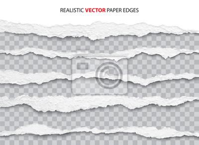 Fototapeta realistic torn paper edges vector