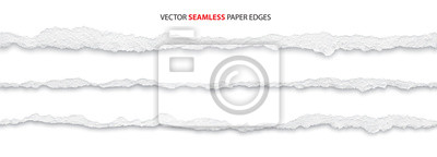 Fototapeta realistic torn paper edges, vector illustration