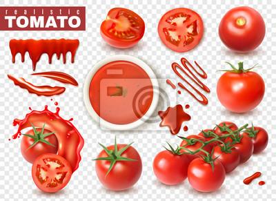 Fototapeta Realistyczny przezroczysty zestaw pomidorów