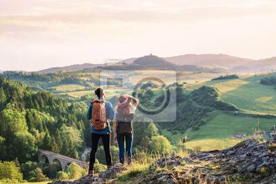 Fototapeta Rear view of young tourist couple travellers hiking in nature, resting.