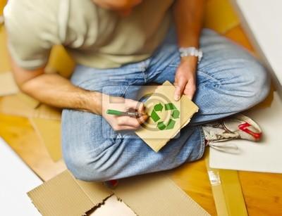 Fototapeta Recykling papieru i mężczyzna