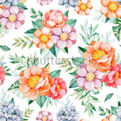 Fototapeta Ręcznie malowane akwarela bezszwowe wzór z piwonie, kwiaty, sukulenty, tropikalny liści, gałęzi i liści. Miłe texure.Perfect dla projektu, wesele, opakowania, tapety, wzór, projekt okładki itp