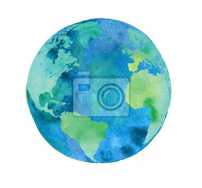 Fototapeta ręcznie malowane kuli ziemskiej. akwarela grafika