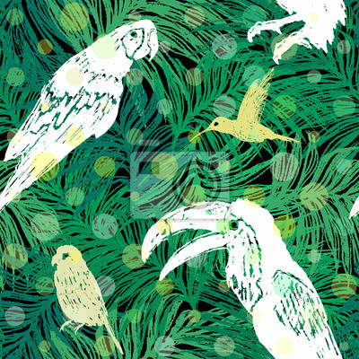 Fototapeta Ręcznie narysowanego dżungli deseń bezszwowych dżungli z ptakami na tle liści palmowych