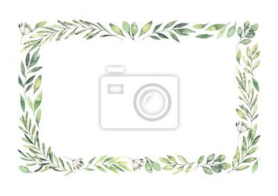Fototapeta Ręcznie rysowane akwarela ilustracja. Botaniczna prostokątna ramka z zielonymi gałązkami i liśćmi. Wiosenny nastrój. Elementy Floral Design. Idealny na zaproszenia, kartki okolicznościowe, druki, plak