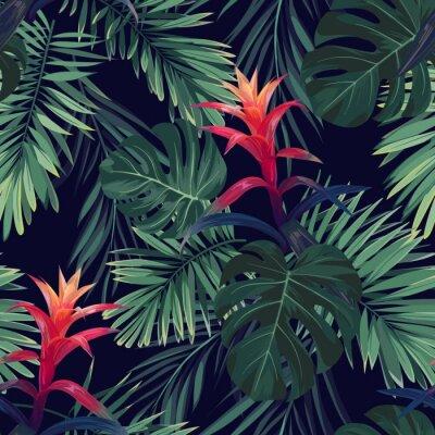 Fototapeta Ręcznie rysowane bez szwu kwiatowy wzór z kwiatami Guzmania, monstera i królewskimi liśćmi palmowymi. Egzotyczne hawajski wektora tle.