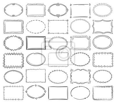 Fototapeta Ręcznie rysowane doodle okrągłe i kwadratowe Wektor obraz ramki granicznej