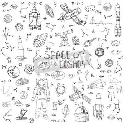 Fototapeta Ręcznie rysowane doodle Przestrzeń i Kosmos ustawić ilustracji wektorowych Universe elementy kolekcji ikon miejsca koncepcji rakietowe symbole statek kosmiczny planety Układu Słonecznego Galaktyka Mil