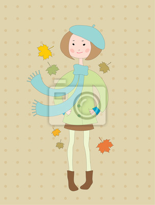 Ręcznie rysowane dziewczynka w płaszcz z szalikiem
