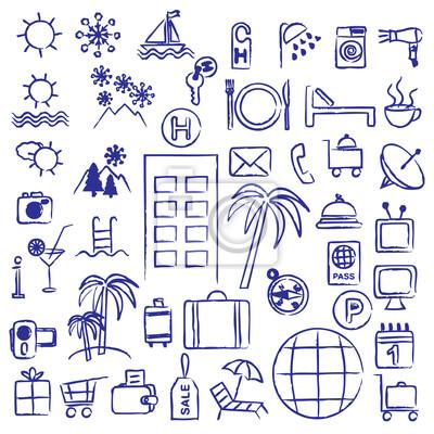 Ręcznie rysowane hotel i symbole związane z turystyką