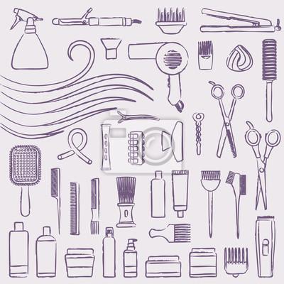 Ręcznie rysowane ikony zestaw do układania włosów