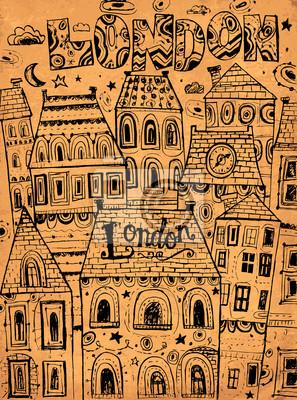 Fototapeta Ręcznie rysowane ilustracji wektorowych z londyńskich domów