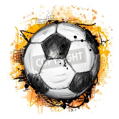 Fototapeta Ręcznie rysowane ilustracji wektorowych z piłki nożnej i piłki nożnej, składu grunge i pomarańczowym tle akwareli w stylu doodle