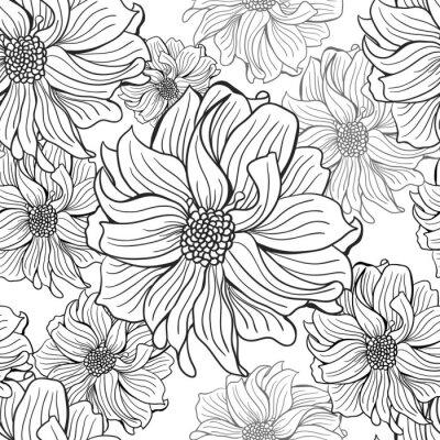 Fototapeta Ręcznie rysowane kwiaty dalii w czerni i bieli, bez szwu.
