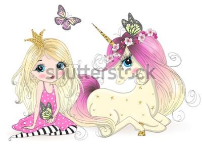 Fototapeta Ręcznie rysowane piękna śliczna mała księżniczka dziewczyna z jednorożcem. Ilustracji wektorowych.